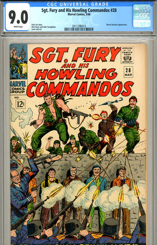 Sgt. Fury #28 CGC graded 9.0 white pages SOLD!