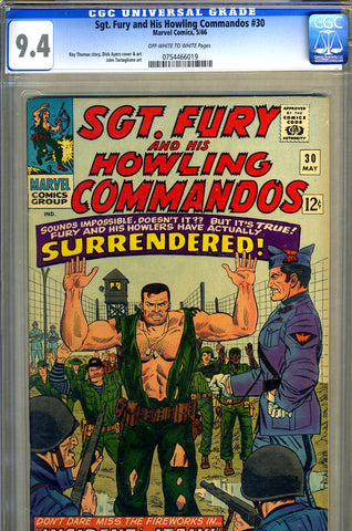 Sgt. Fury #30  CGC graded 9.4 SOLD!