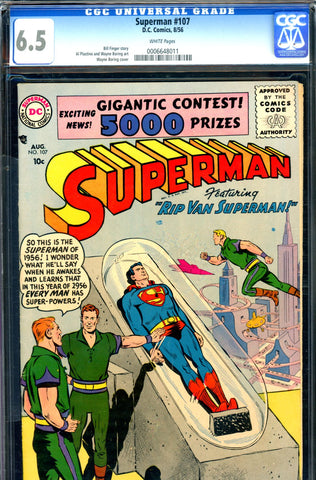 Superman #107 CGC graded 6.5 - white pages (1956) SOLD!