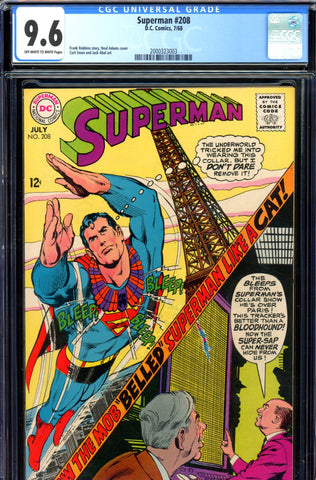 Superman #208 CGC graded 9.6 - Neal Adams cover