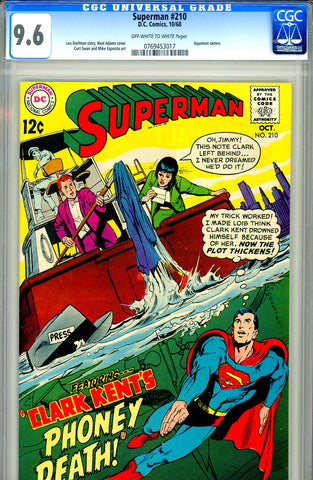 Superman #210 CGC graded 9.6 - Neal Adams cover