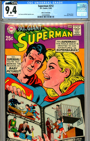 Superman #212 CGC graded 9.4 Fantucchio pedigree white pages