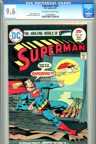 Superman #287 CGC graded 9.6 - Krypto cover/story