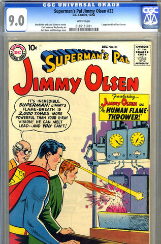 Superman's Pal, Jimmy Olsen #033   CGC graded 9.0 - SOLD!