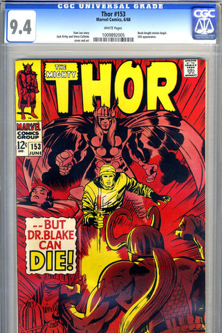 Thor #153   CGC graded 9.4 - white pages - SOLD!