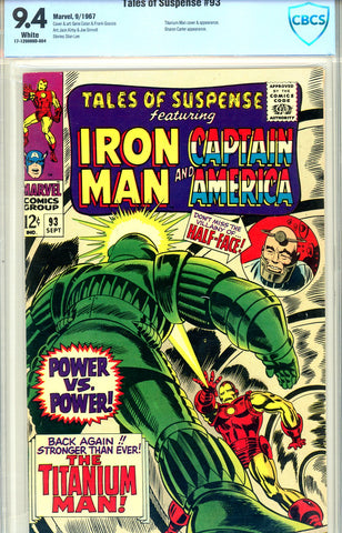 Tales of Suspense #93 CBCS graded 9.4  white pages SOLD!