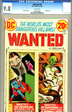 Wanted, the World's Most Dangerous Villains #9  CGC graded 9.8  HG - SOLD!