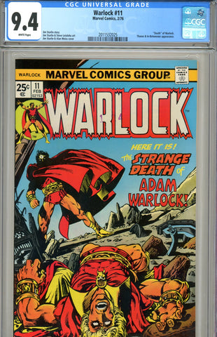 "Warlock #11 CGC graded 9.4 ""death"" of Warlock"