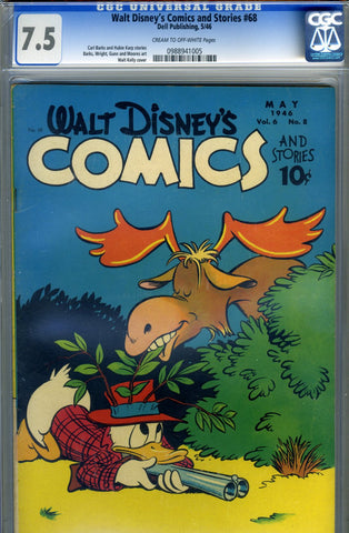 Walt Disney's Comics and Stories #068   CGC graded 7.5 - Donald Duck - 1946 - SOLD!