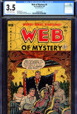 Web of Mystery #9 CGC graded 3.5  zombies cover