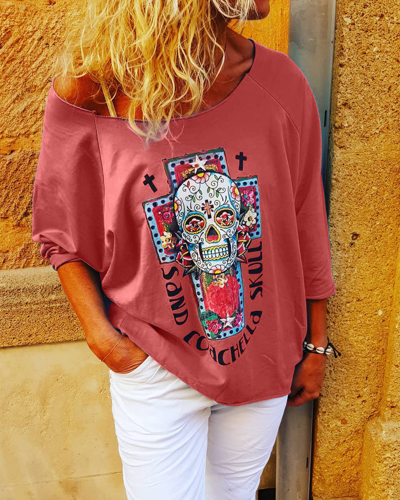 Women  Half Sleeve Floral  Loose Casual Top