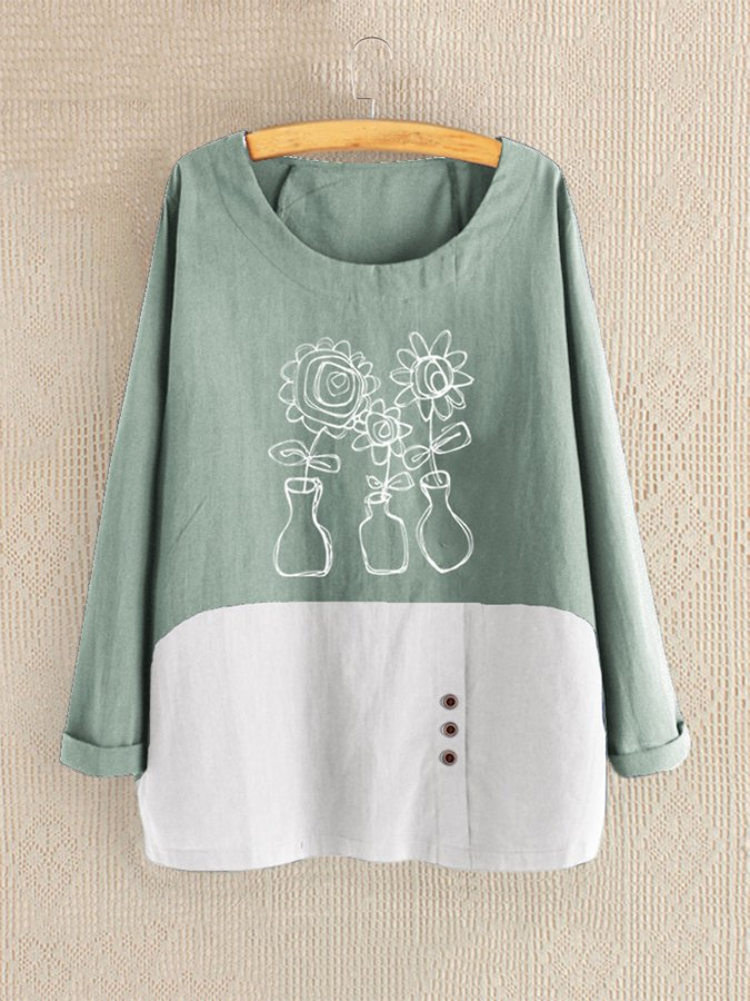 Floral Round Neck Long Sleeve Cotton Shirts & Tops