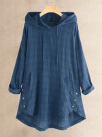 Vintage Plaid Button Hooded Irregular Plus Size Blouse with Pokcets