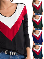 Crew Neck Long Sleeve Shift Color-Block Shirts & Tops