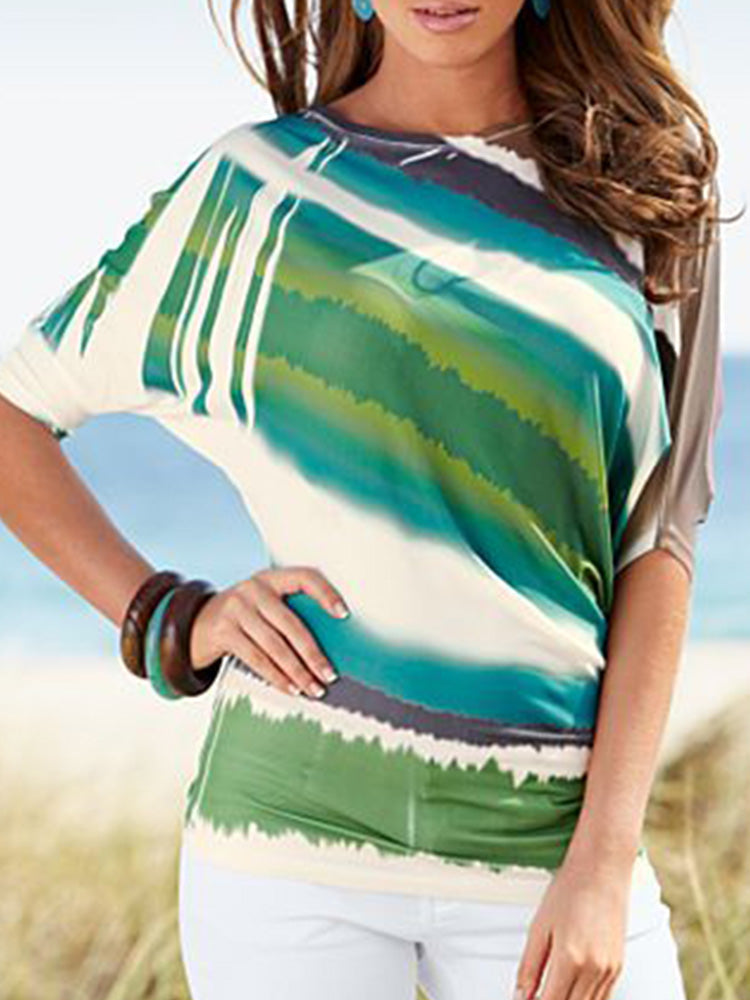 Green Short Sleeve Round Neck Color-Block Shirts & Tops