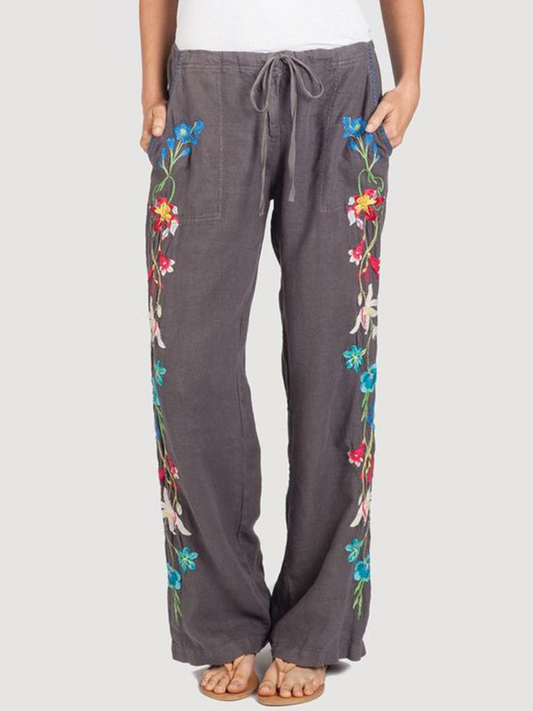 Gray Casual Patchwork Pants