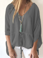 Long Sleeve Solid Cotton-Blend Blouse