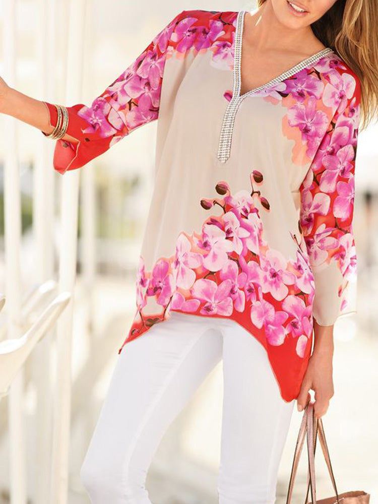V Neck Long Sleeve Holiday Shirts & Tops