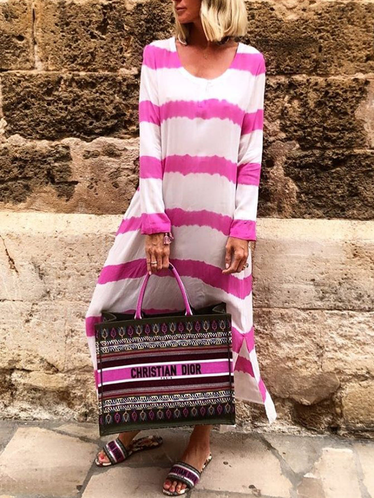 Pink Long Sleeve Cotton Striped Dresses