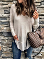 Casual Long Sleeve V Neck Solid Tops