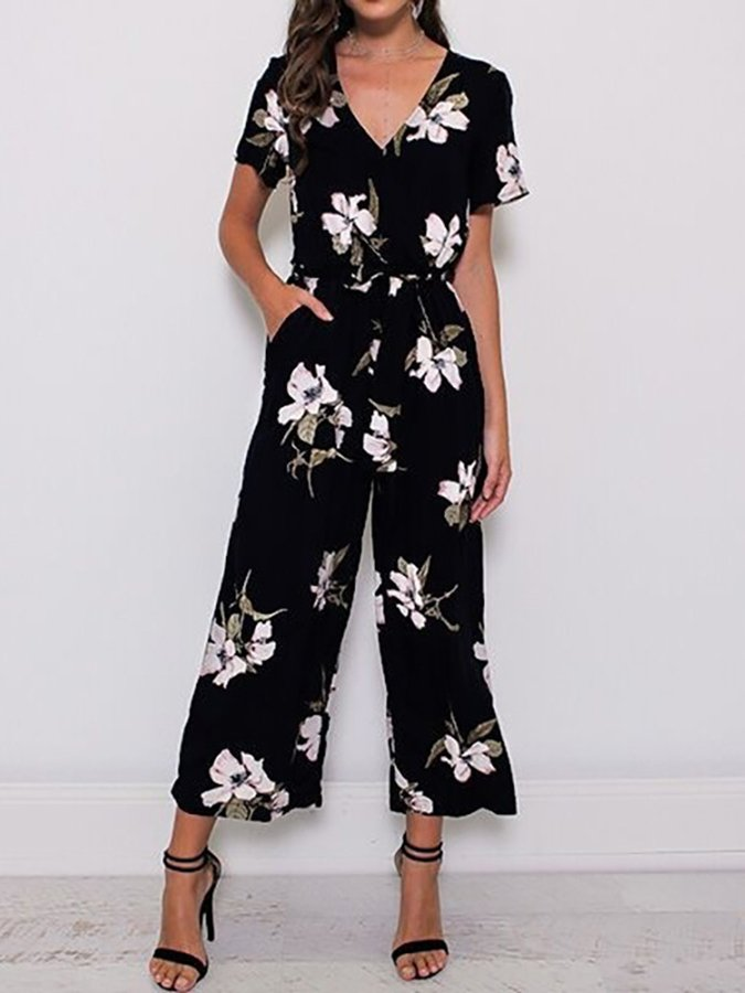 Floral Casual V Neck One-Pieces
