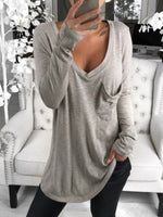 Plain V Neck Long Sleeve Cotton Shirts & Tops