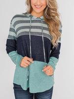 Cotton-Blend Long Sleeve Hoodie Casual Shirts & Tops