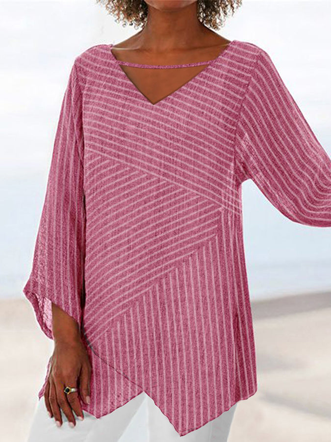Casual Long Sleeve Striped Shirts & Tops