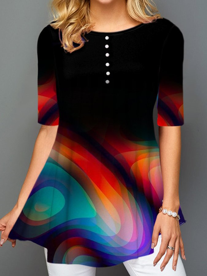 Black Ombre/tie-Dye Gradient Casual Shirts & Tops