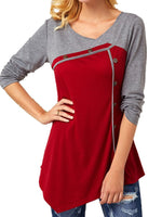 Red Long Sleeve Paneled Cotton Shirts & Tops