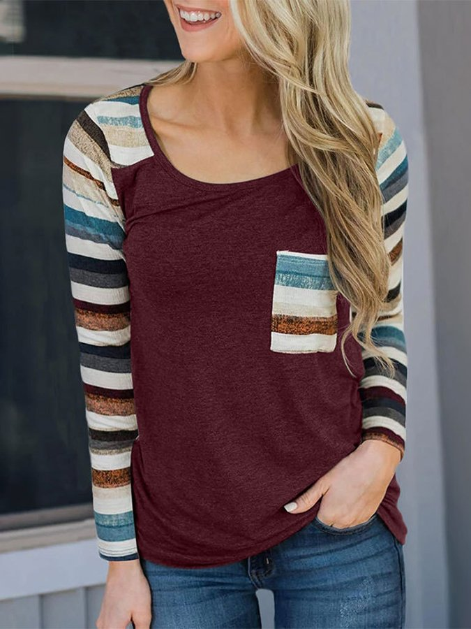 Long Sleeve Casual Scoop Neckline Shirts & Tops
