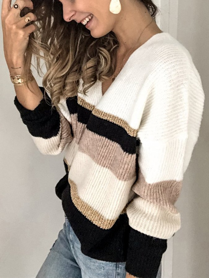 Off White Long Sleeve Shift Striped Sweater