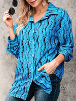 Shift Long Sleeve Casual Striped Shirts & Tops