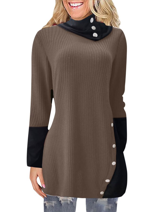 Casual Plain Cowl Neck Sweater