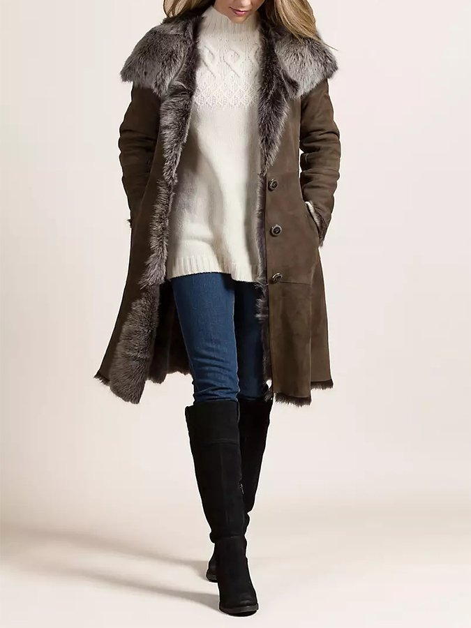 Coffee Long Sleeve Shawl Collar Casual Shift Outerwear