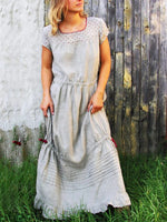 Gray Short Sleeve Shift Cotton Dresses