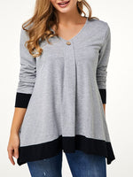 Gray A-Line Long Sleeve Shirts & Tops