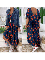 Navy Blue Polka Dots Cotton Casual Round Neck Dresses