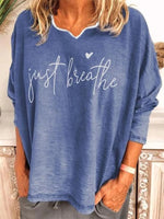 Letter Long Sleeve Casual Cotton Shirts & Tops