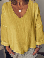 Long Sleeve V Neck Solid Linen Shirts & Tops