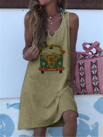 Abstract V Neck Holiday Shift Dresses