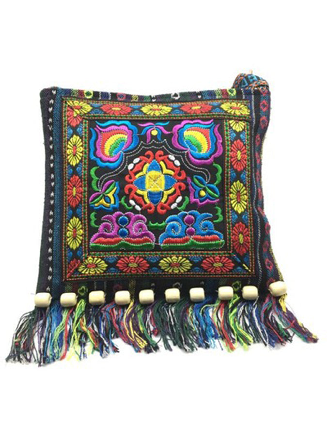 Fringed Embroidery Beaded Crossbody Bag
