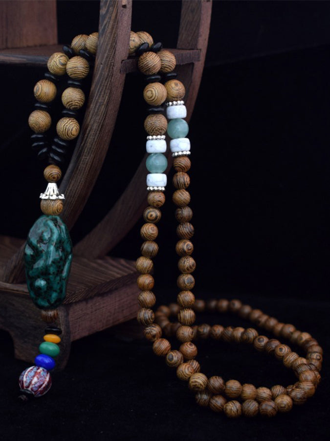 Decorated Bodhi Pendant Long Beads
