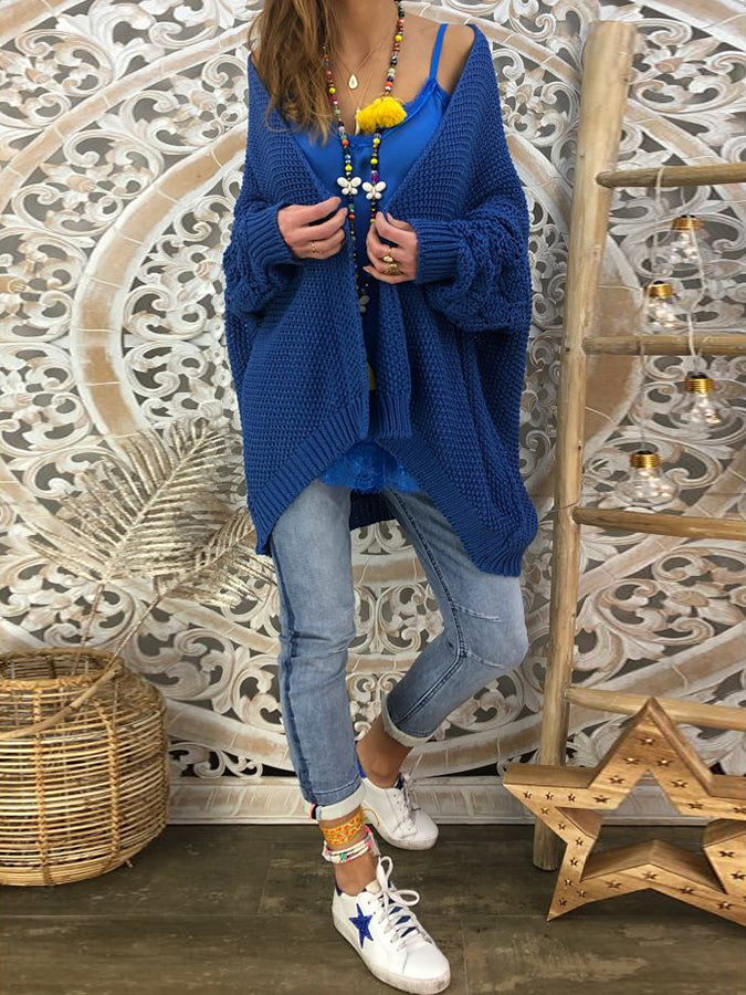 Blue Knitted Long Sleeve Shift Outerwear