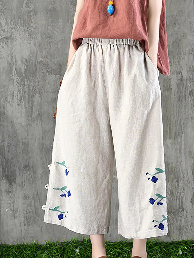 Embroidered Shift Cotton Pants