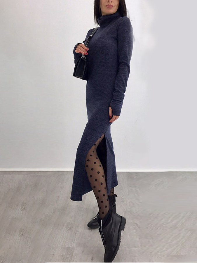 Long Sleeve Turtleneck Sheath Dresses