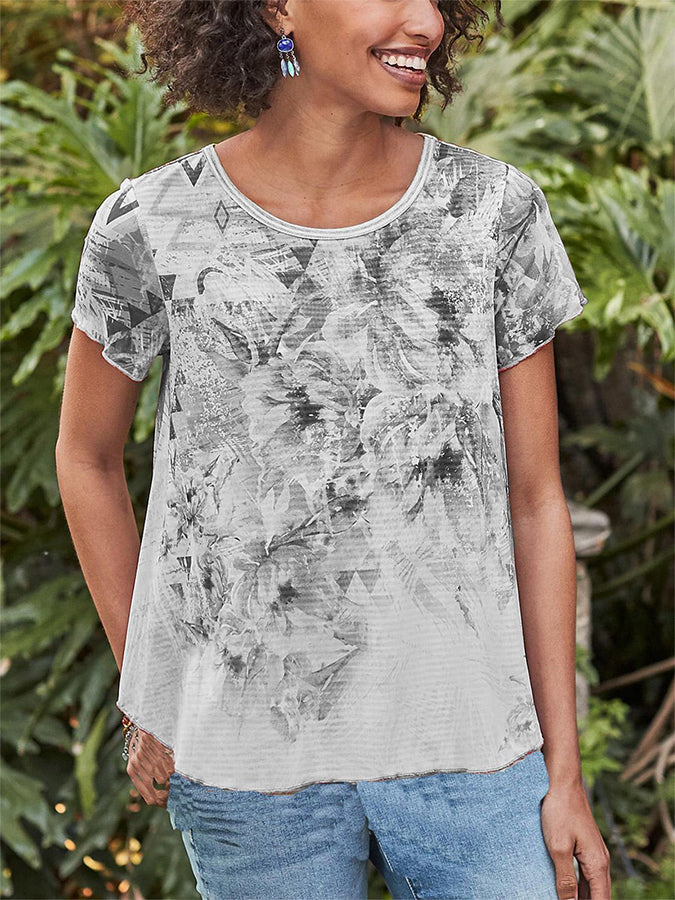 Cotton Printed Sweet Short Sleeve Shirts & Tops