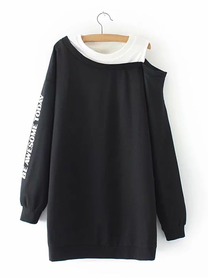 Long Sleeve Casual Letter Off Shoulder Shirts & Tops