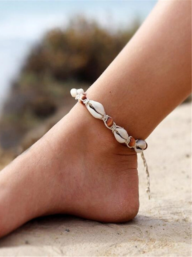 White Geometry Anklets