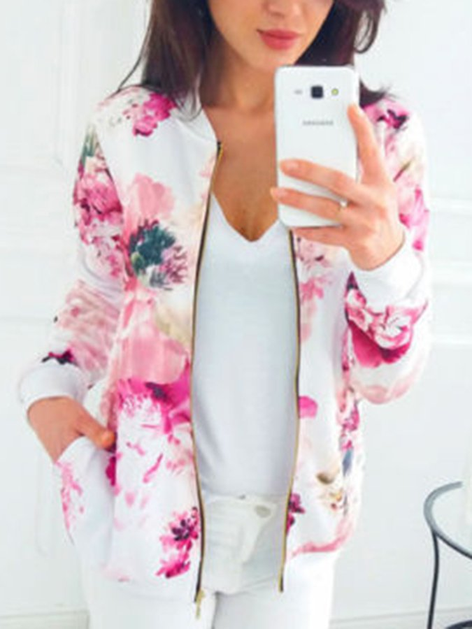 Floral-Print Casual Long Sleeve Outerwear